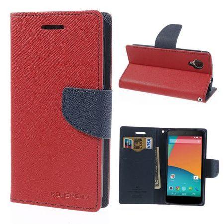 LG Google Nexus 5 Cooles, zweifarbiges Leder Case - dunkelblau/rot