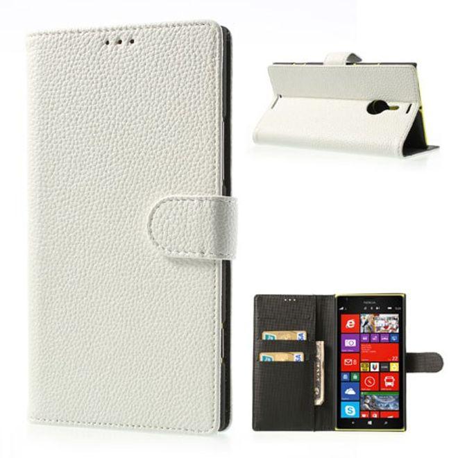 Nokia Lumia 1520 Leder Cover mit Litchimuster und Standfunktion - weiss