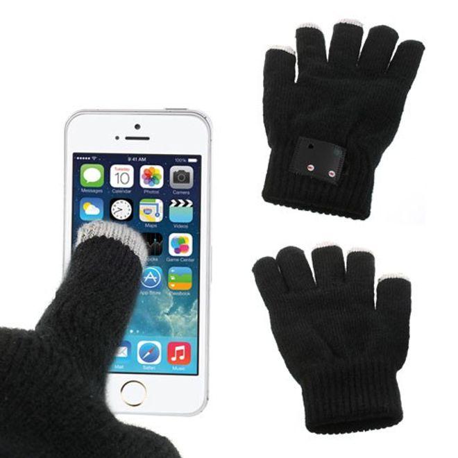 Touchscreen Handschuhe mit integrierter Mikrofon und Lautsprecher - schwarz