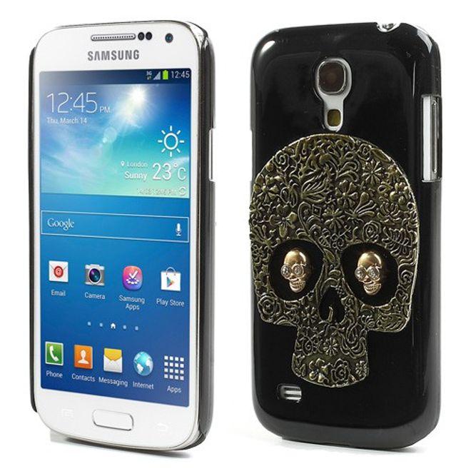 Samsung Galaxy S4 Mini Hart Plastik Case mit Totenkopf - golden