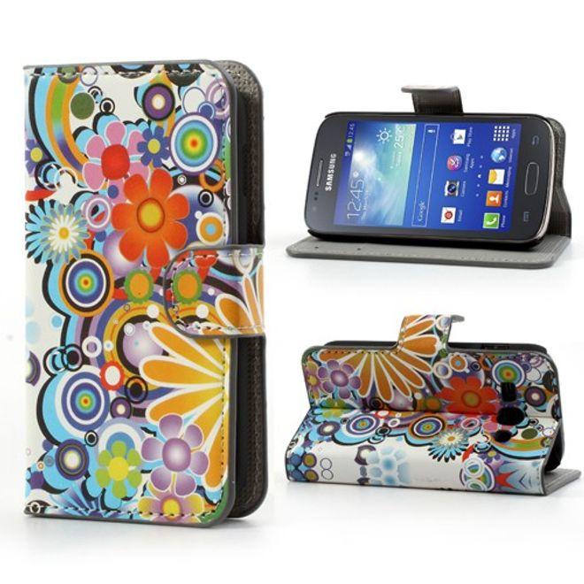 Samsung Galaxy Ace 3 Leder Case mit farbenfrohen Blumen