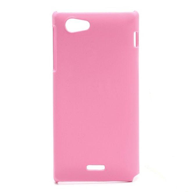 Sony Xperia J Gummiertes Hart Plastik Case - pink