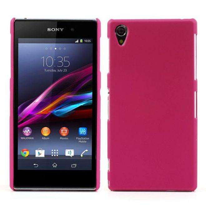 Sony Xperia Z1 Gummiertes Hart Plastik Case - rosa