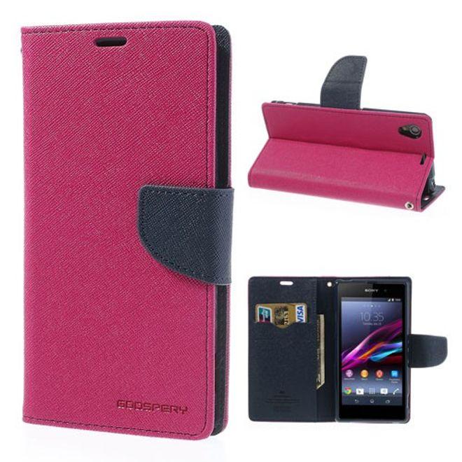 Goospery Sony Xperia Z1 Modisches, hochwertiges Leder Case - dunkelblau/rosa