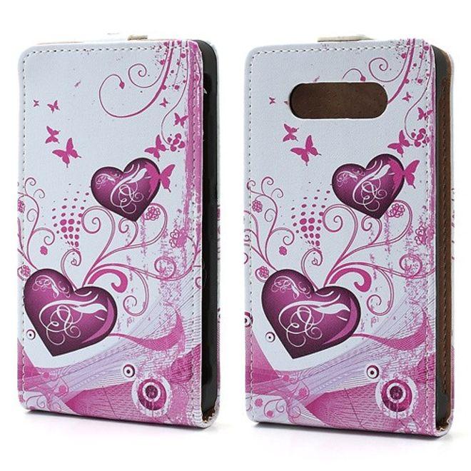 Nokia Lumia 820 Leder Flip Case mit zwei Herzen - weiss