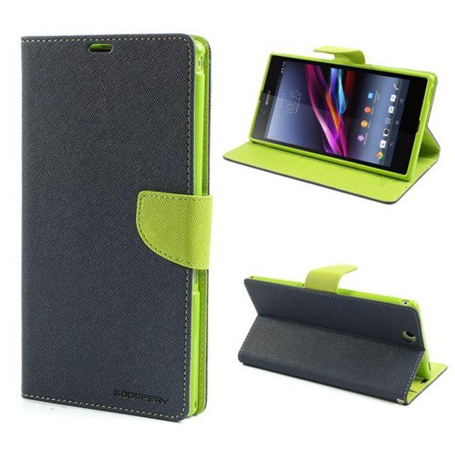Goospery Sony Xperia Z Ultra Modisches, magnetisches Leder Case - grün/dunkelblau