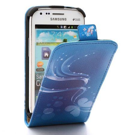 Samsung Galaxy S Duos Leder Case mit Streifen und Schmetterlingen - blau