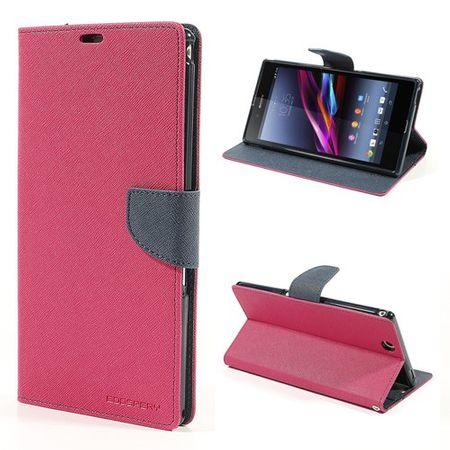 Sony Xperia Z Ultra Modisches, magnetisches Leder Case - dunkelblau/rosa