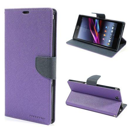 Sony Xperia Z Ultra Modisches, magnetisches Leder Case - dunkelblau/purpur