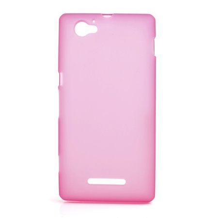 Sony Xperia M Elastisches, mattes Plastik Case - rosa