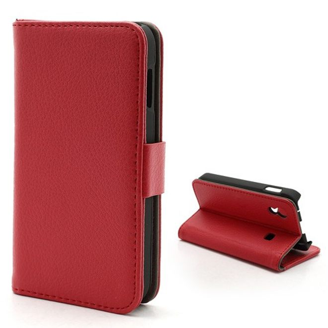 Samsung Galaxy Ace 1 (S5830) Magnetisches Leder Case mit Litchimuster - rot