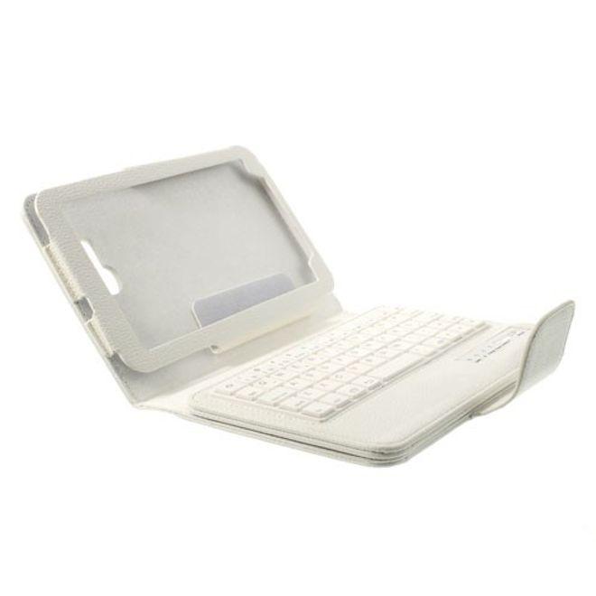 Samsung Galaxy Tab 3 7.0 Lite Leder Case mit integrierter Bluetooth Tastatur - weiss