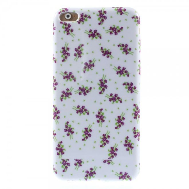 iPhone 6 Plus/6S Plus Elastisches Plastik Case mit purpurnen Blumen