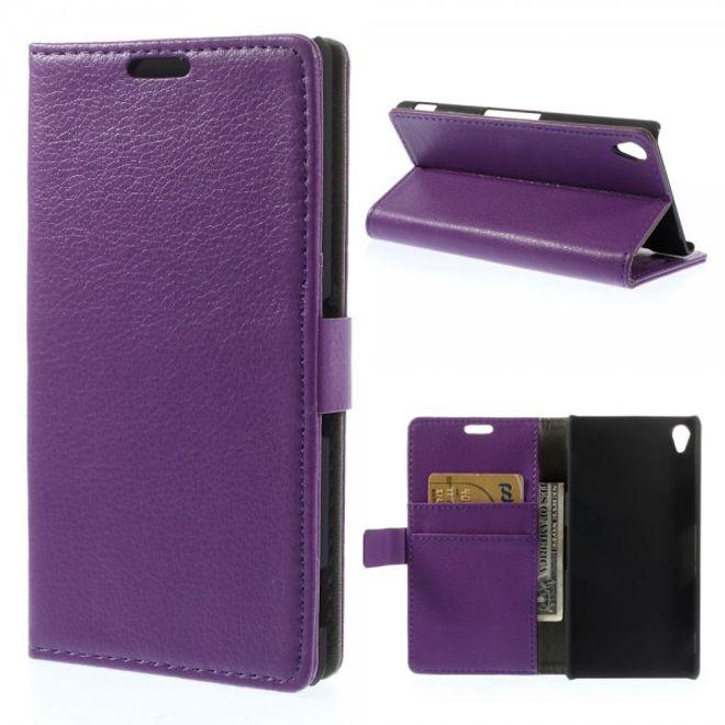 Sony Xperia Z3 Leder Case mit Litchimuster - purpur