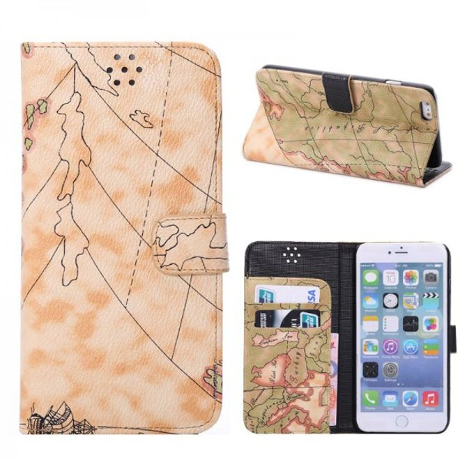 iPhone 6 Plus/6S Plus Leder Case mit Weltkarte - gelb