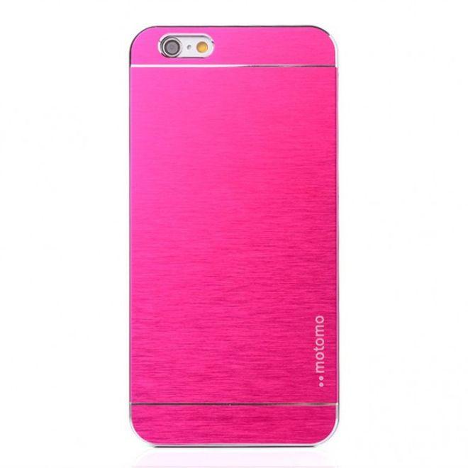 iPhone 6 Plus/6S Plus Gebürstetes Hart Plastik Case im Alu-style - rosa