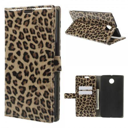 Motorola Nexus 6 Glänzendes Leder Case mit Leopardenmuster