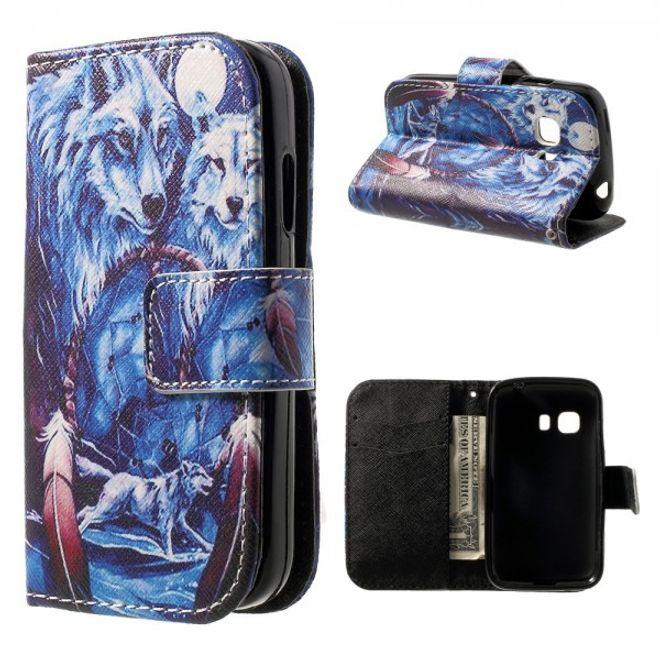Samsung Galaxy Young 2 Leder Case mit Wolf und Traumfänger