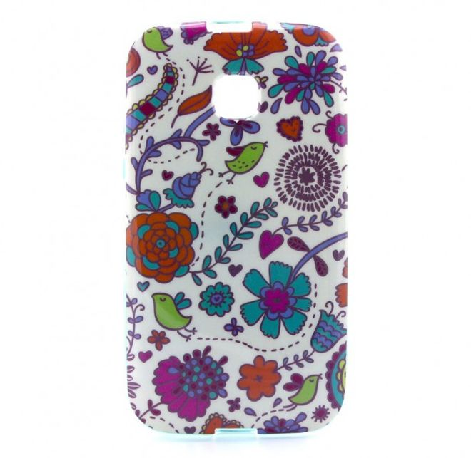 Motorola Moto E Elastisches Plastik Case mit vielen kleinen Blumen