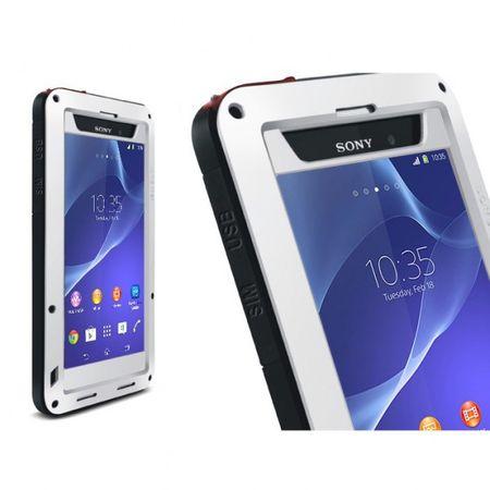 Sony Xperia Z2 LOVE MEI Ultrarobustes Metall, Silikon und gehärtetes Glas Case - schwarz/silber
