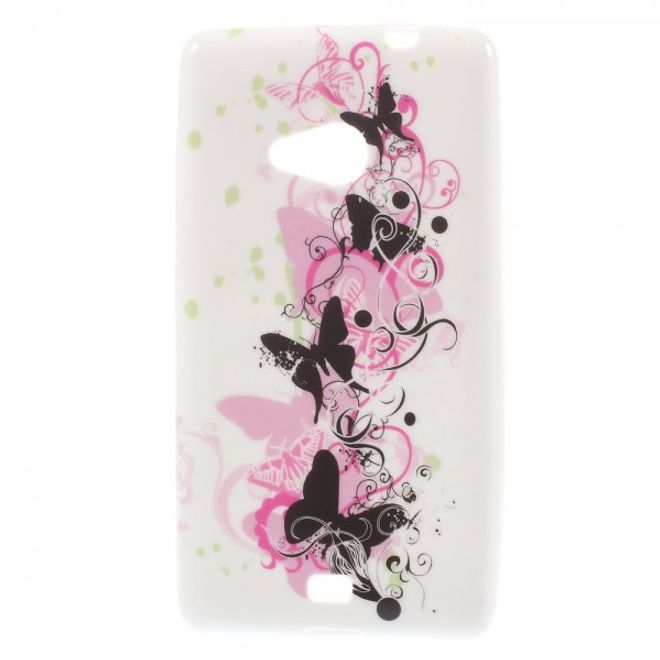 Microsoft Lumia 535/535 Dual Elastisches Plastik Case mit schwarzen Schmetterlingen