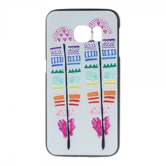Samsung Galaxy S6 Edge Hart Plastik Case mit farbigen Federn
