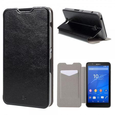 Sony Xperia E4/E4 Dual Crazy Horse Leder Case mit Kreditkartenslots - schwarz