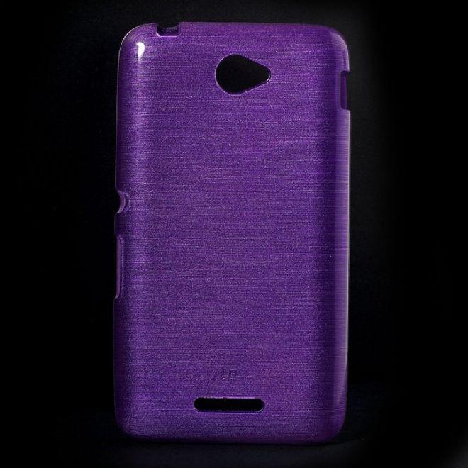 Sony Xperia E4/E4 Dual Glänzendes, leicht gebürstetes und elastisches Plastik Case - purpur