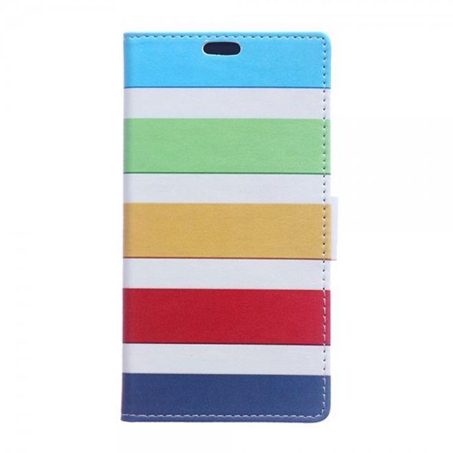 Sony Xperia Z4/Z3+/Z3+ Dual Leder Flip Case mit farbigen Streifen