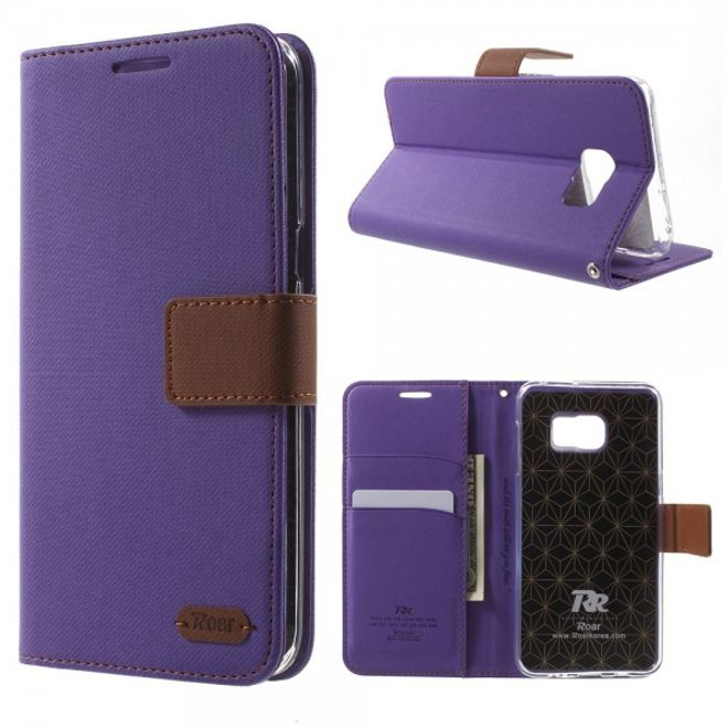 Roar Samsung Galaxy S6 Edge Plus Roar Korea Trendiges Leder Case mit Standfunktion - purpur