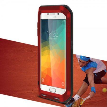 Samsung Galaxy S6 Edge Plus LOVE MEI Ultrarobustes Metall und Silikon Case (ohne Gorilla Glas) - rot