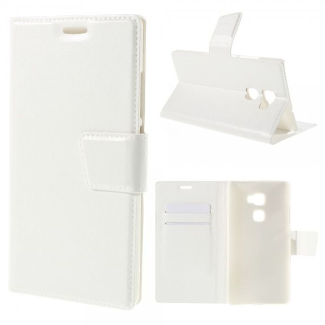 Huawei Mate S Schickes Crazy Horse Leder Case mit Standfunktion - weiss