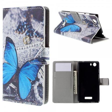 Wiko Bloom2 Leder Case Hülle mit wunderschönem, blauem Schmetterling