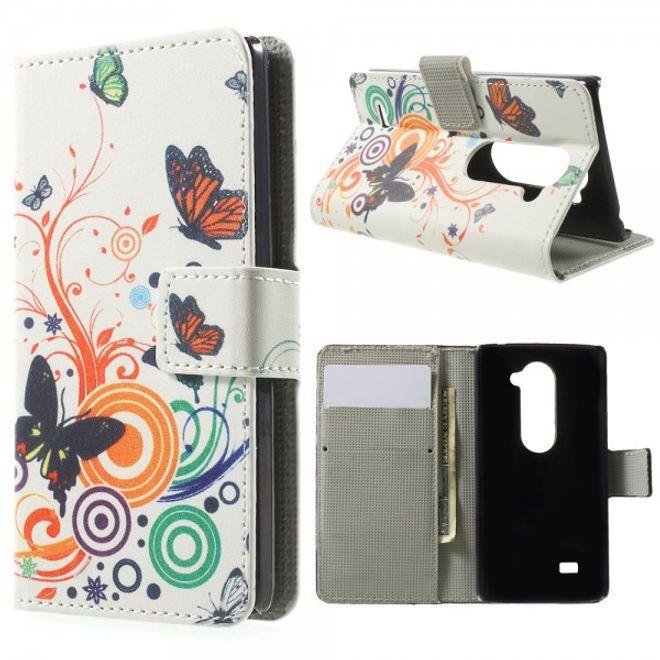 LG Leon Leder Case Hülle mit Schmetterlingen und Kreisen