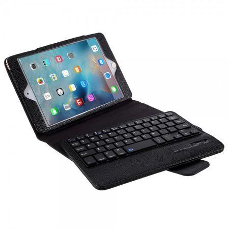 Universelle Leder Case Hülle mit abnehmbarer Bluetooth Tastatur (QWERTY Modus) für alle iPad Mini Modelle - schwarz