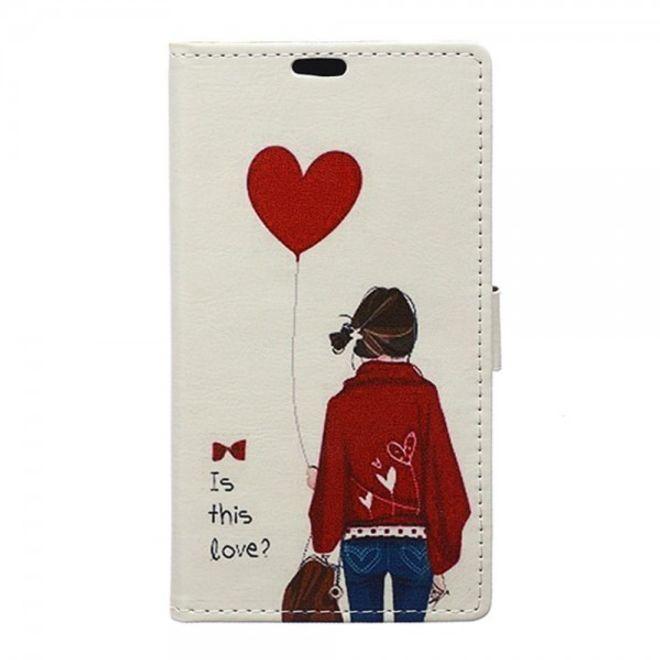 Sony Xperia M5/M5 Dual Leder Case Hülle mit kleinem Mädchen und Herz Ballon