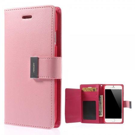iPhone 6 Plus/6S Plus Mercury Goospery Rich Diary Series Leder Case Handy Hülle - pink