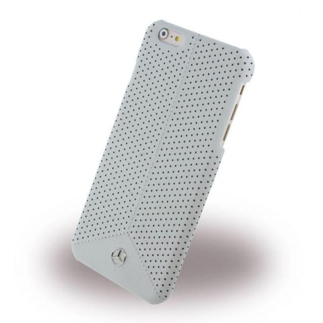 Mercedes-Benz iPhone 6 Plus/6S Plus Mercedes Benz Pure Line Gelochte Hart Plastik Case Hülle mit Lederüberzug - grau