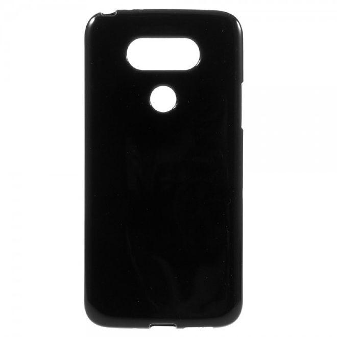 LG G5 Einfarbige, leicht glänzende und elastische Plastik Cover Hülle - schwarz