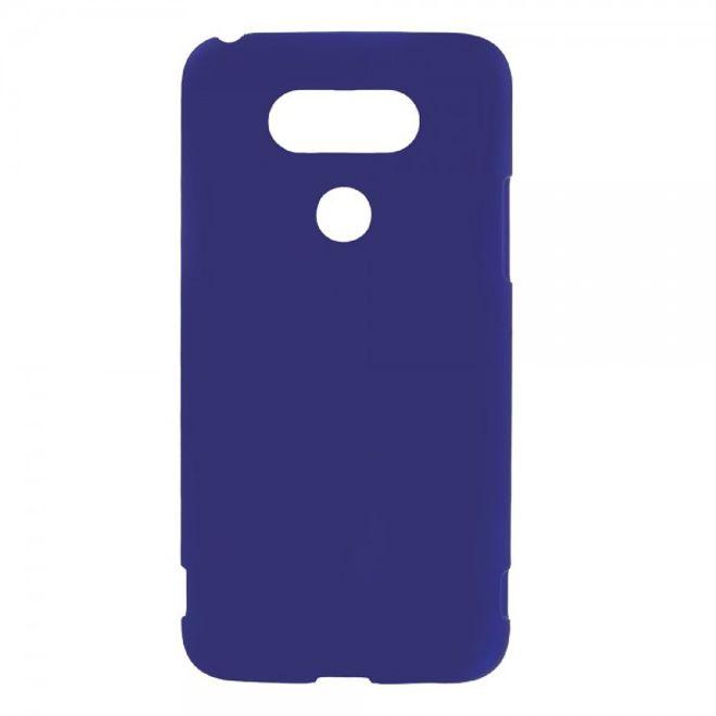 LG G5 Gummierte Hart Plastik Cover Handyhülle - dunkelblau