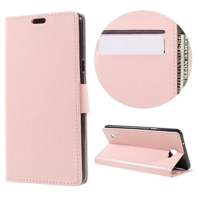 LG X5 Schicke Crazy Horse Leder Case Hülle mit Standfunktion und Kreditkartenslots - pink