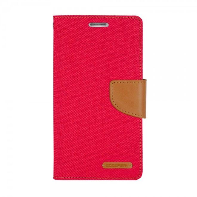 Goospery Mercury Goospery - Flipcase Hülle für LG Stylus 2/G Stylo 2 - Hülle aus Leder/Stoff- Canvas Diary Series - rot/camel