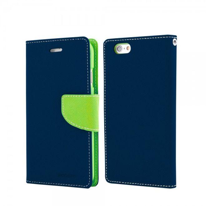 Goospery Mercury Goospery - Handy Cover für Samsung Galaxy S6 Edge Plus - Handyhülle aus Leder - Fancy Diary Series - navy/lime
