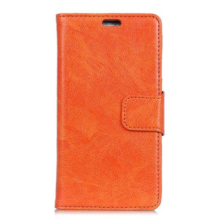 Huawei Honor View 10 Handy Hülle - Case aus echtem Spaltleder - mit Standfunktion - orange