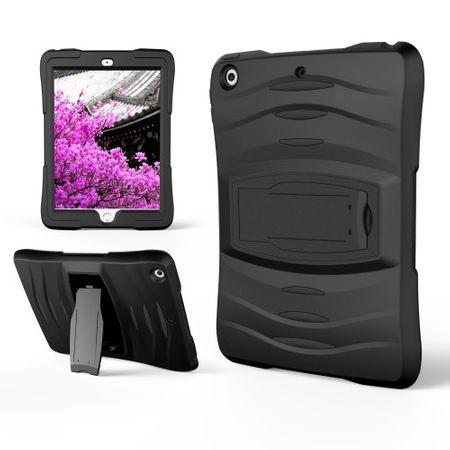 iPad 9.7 (2017 & 2018) Hülle - Outoor Silikon Case - mit Screen Protector - schwarz