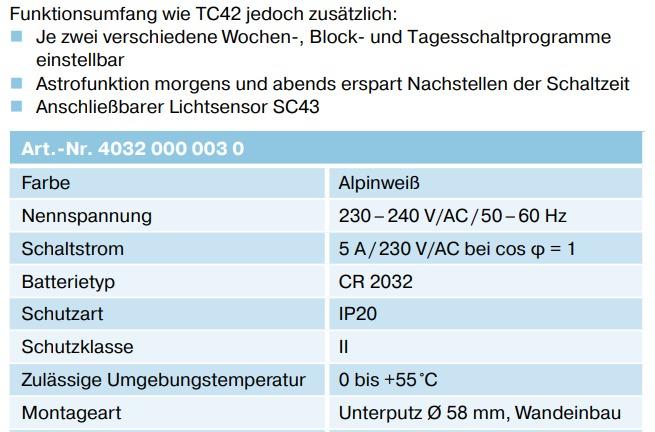 becker tc52 technische daten