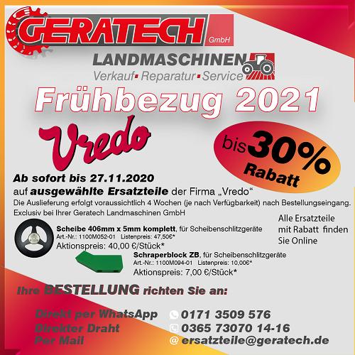 Vredo Frühbezug Landtechnik Ersatzteile bei GERATECH Landmaschinen GmbH