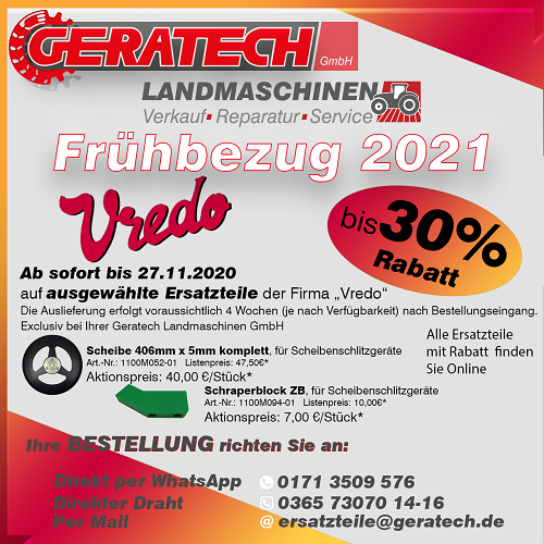Frühbezugsarktion GERATECH Landmaschinen Landtechnik Vredo