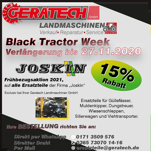 Frühbezugsaktion GERATECH Landmaschinen Landtechnik Joskin
