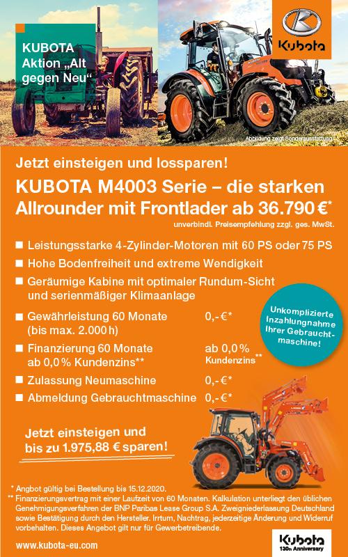Kubota-Aktion ALT gegen NEU bei der GERATECH Landmaschinen GmbH